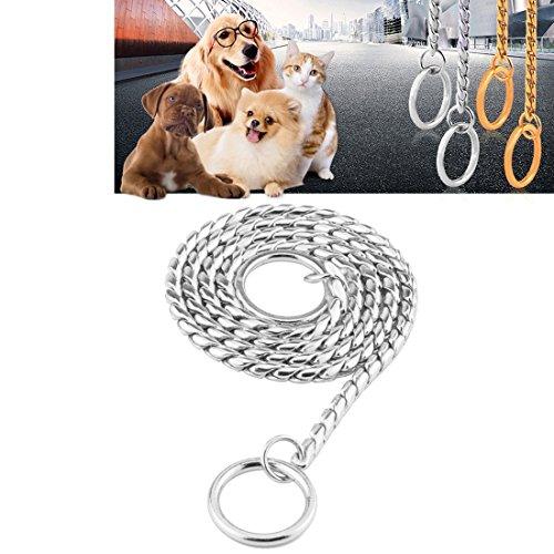 DuoShengZhTG Haustier Halsbänder Pet Neck Strap Hund Halsband Schlange Kette Hund Kette Solid Metall Kette Hundehalsband, Länge: 55cm (Color : Silver) (Schlange Hund Halsband Kette)