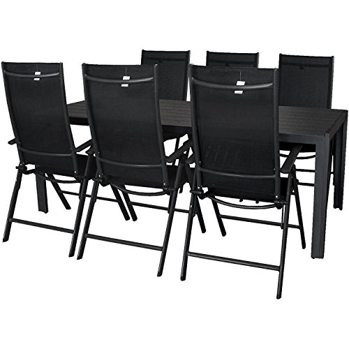 Wohaga® Terrassenmöbel Gartenmöbel Set Sitzgruppe Gartengarnitur Aluminium Polywood Gartentisch 205x90cm + 7-Positionen Hochlehner mit 2x2 Textilenbespannung