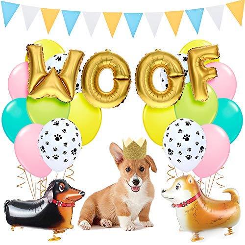 LUCK COLLECTION Dog Party Dekorationen Schuss Hund Ballons Walking Dog Balloons Hund Party Hüte für Welpen Hund Geburtstag Pet Theme Baby Shower Birthday Party Supplies