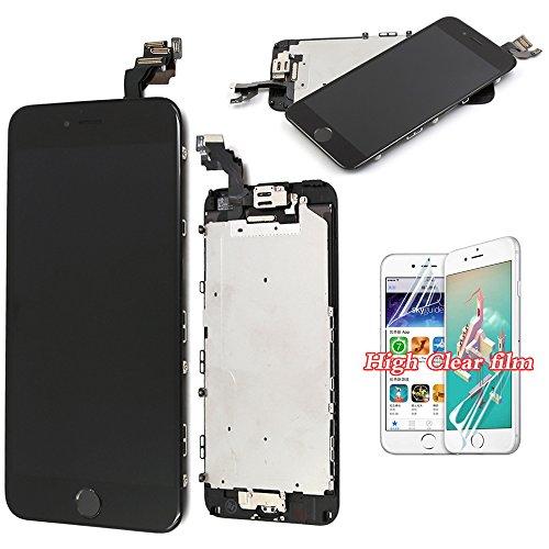 recyco LCD für iPhone 6 With the summation of Bildschirm Ersatz - Schwarz Pledged Ersatz With Digitizer mit Untroubled b in Button + Sensor + Frontkamera Rahmen Gehäuse Montageplatte