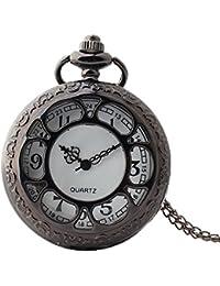 Maybesky Reloj de Bolsillo Reloj de Cuarzo Redondo Hueco Vintage con Cadena Caja de Regalo para cumpleaños Aniversario día Nav