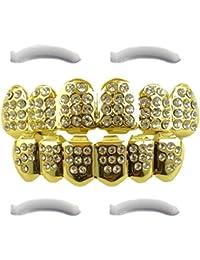 Grillz 24 K Blanco Out helado 24 K chapado en oro con circonitas diamantes – parte superior e inferior Set + 2 barras de moldeado incluido