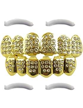 14K vergoldet Iced Out Grillz mit CZ Diamanten–oben und unten Set + 2extra Formen Bars im lieferumfang enthalten
