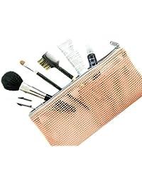 2PCS Multi-functional Stationery Makeup Organizer Bag Packing Bags Travel Mesh Cosmetic (Pink)