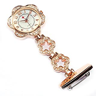 Alxcio Personalised Flower Nurse Watch Nurse Lapel Pin Watch Clip-on Hanging Medical Pocket Watch Graduation Valentines Gift - Rose Gold