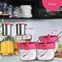 GARDEN botellas del condimento Utensilios de cocina Vidrio de condimentos de tanque de acero inoxidable Caja de condimentos Set de botellas de aceite Caja de condimentos Salt Tank (5 ensamblajes) ( Color : Pink )