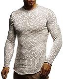 LEIF NELSON Herren-Strickpullover Woll-Pullover mit Rundkragen | Moderner Pullover Sweatshirt | LN20750; L; Grau