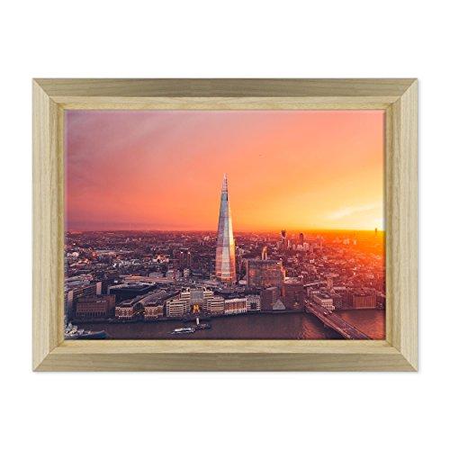 Bild auf Leinwand Canvas-Gerahmt-fertig zum Aufhängen-London Skyline-London Soho-Sky Garden-UK England Dimensione: 50x70cm E - Colore Legno Naturale Design