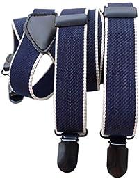 Hombres y mujeres Lawevan pantalones apoyos Supenders look preppy estilo azul oscuro y azul de los apoyos