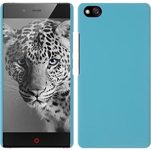 PhoneNatic Case kompatibel mit ZTE Nubia Z9 Max - Hülle hellblau gummiert Hard-case + 2 Schutzfolien