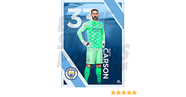 Manchester City FC 2020//21 Scott Carson A3 Football Poster// Print// Wall Art A3 Available in Sizes A3 /& A2 Officially Licensed Product