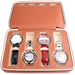 AXIS® Light Brown 8 Watch Luxury Travel Display Box Case