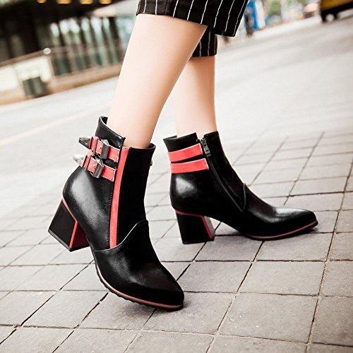 Mee Shoes Damen chunky heels mehrfarbig Reißverschluss Stiefel Schwarz Und Rot