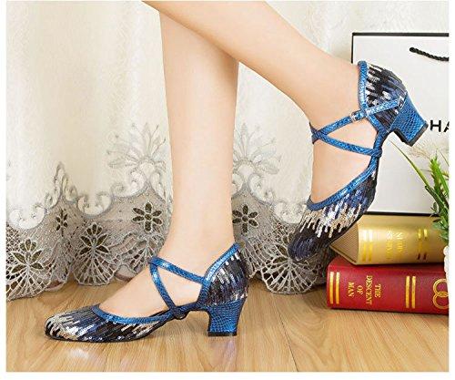 Minitoo Ladies, scarpe décolleté con lustrini e lacci incrociati, in pelle, TH135, adatte a matrimoni, serate danzanti, feste latine, tango Blu (blu)