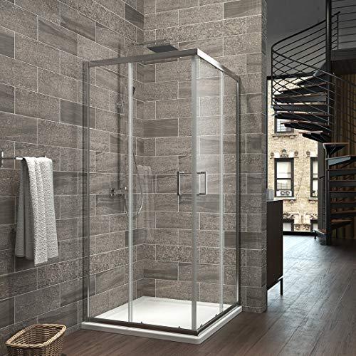 EMKE Duschkabine 90x90cm Eckeinstieg Duschabtrennung Nano Glas Schiebetür Duschtür Höhe 195cm -