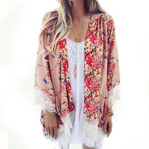 KanLin Damen Gedruckt Chiffon Schal Kimono Strickjacke Tops Cover Up Bluse Blumen