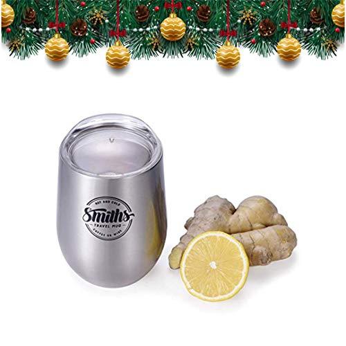 12-oz / 355mL Wiederverwendbarer Reisebecher - Doppelwandiger vakuumisolierter Weinbecher mit BPA-freiem Deckel - umweltfreundliche Flasche - Kaffee, Tee, Wein, Whisky, Cocktails | Smith's Mason Jars