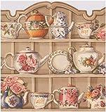 Beige Küche Schränke mit Teller Becher Blumen Wasserkocher breit Tapeten Bordüre Vintage Design, Rolle 15'x 24,8cm