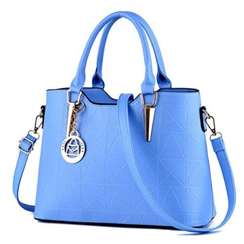 Albeey Damen Klassische Handtasche Schultertasche Groß Umhängetasche Taschen (hellblau) (Klassische Tasche)