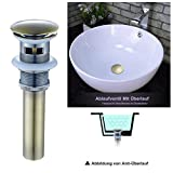 (1 Set) Quadratisch Siphon + Pop Up Ablaufventil ohne Überlauf Push-Up Ablaufgarnitur Stöpsel Abfluss Ventil für Waschbecken Waschtisch Spültisch