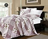 IMPERIAL ROOMS 3 piece Embroidered Patchwork Quilted Bedspread Beautiful Floral Luxury Bedding sets Throw sets Pillows Comforter Set ( King / Orchid ) Include 1 Bedspread & 2 Pillow shams