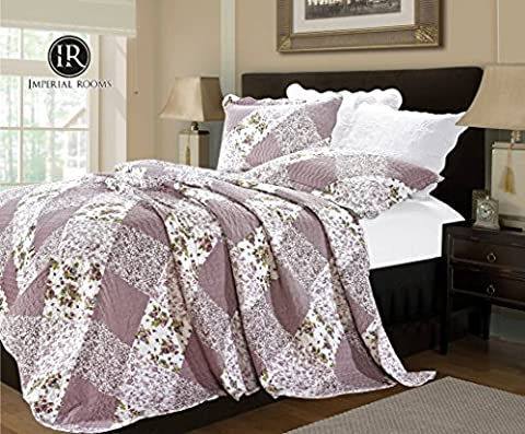 Luxury Vintage Floral 3 Piece Quilted Embroidered Patchwork Bedspread Throw Set Comforter Pillow Case Single,Double, King Size Bed (Double ( 220 X 240 CM ), Orchid ( 361-10))
