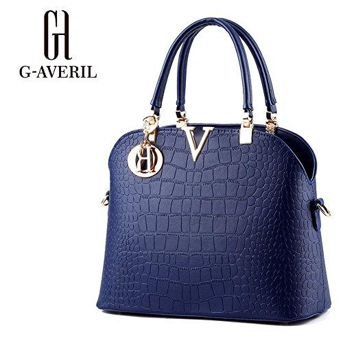 (G-AVERIL) Borsa A Tracolla Borse Donna Borsa Sacchetto In Pelle Cartella Sacchetti Blu scuro