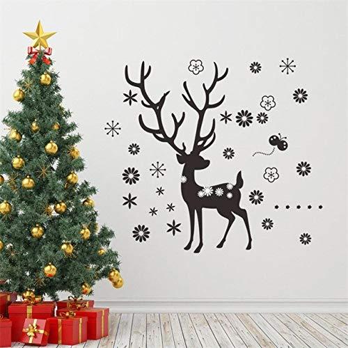 Wandaufkleber Spiegel Weihnachten Schwarz Deer Blume Schneeflocke Weihnachten Neujahr Abziehbild Wandaufkleber Für Kinderzimmer Tier Geschenke Party Supply Store Wandbild