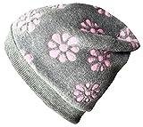 Wollhuhn Warme Kuschelige Beanie-Mütze BLÜMCHEN grau/rosa, Wellnessfleece, für Jungen und Mädchen, 29170906, Größe M: KU 51/53 (ca 3-5 Jahre)