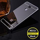 GazE Premium Quality Luxury Metal Bumper + Acrylic Mirror Back Cover Case for Xiaomi Redmi Note 3 Black