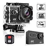 HUIGE 4K Sport Caméra d'action Ultra HD caméscope 16MP WiFi caméra étanche 170 degré Vue Large Angle de 2 Pouces écran LCD