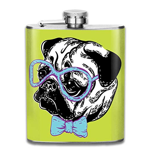 Miedhki Cute Dog with A Bow Tie 7 Oz Pocket Hip Alcohol Liquor Flask Print Printing-Made from 304(18/8) Food Grade Stainless Steel -