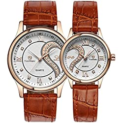 His and Hers Watches, iHee Leather Strap Romantic Pair Analogue Quartz Wrist Watches for Couple Men Women( Set of 2 )