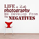 DECOR Kafe Home Decor Life Is Photography Wall Sticker, Wall Sticker For Bedroom, Wall Art, Wall Poster (PVC Vinyl, 83 X 38 CM)