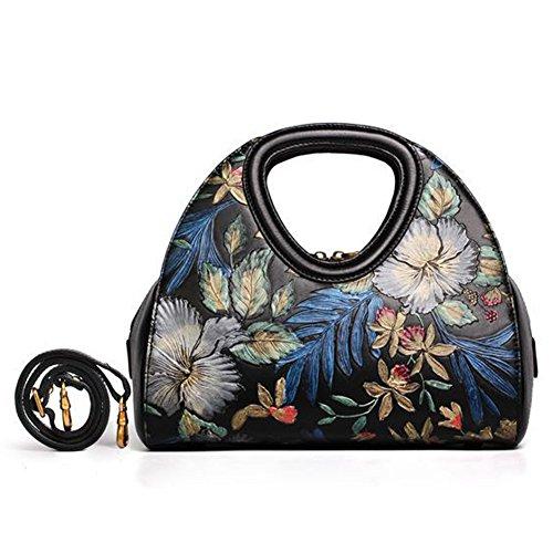 Leathario Borsa di Vera Pelle da Donna Mano Spalla Classico Vintage Estate Elegante Dipinta Lussuosa nero-S