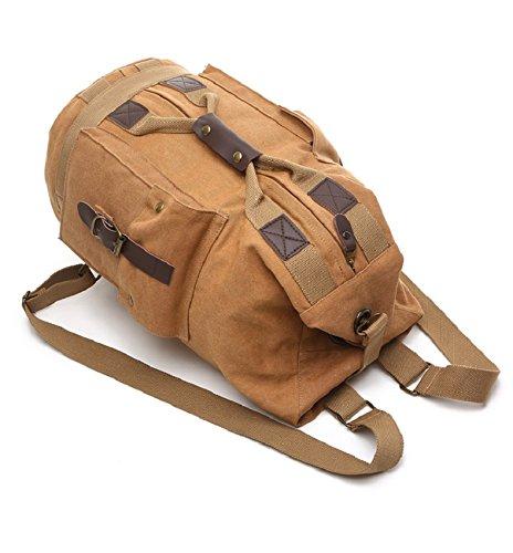 LF&F Backpack 32-40L Kapazität Freizeit im Freien Schulterbeutel Bergsteigen Tasche Camping Rucksack Reisetasche Schulranzen Multifunktionsaufbewahrungstasche Retro Army Green