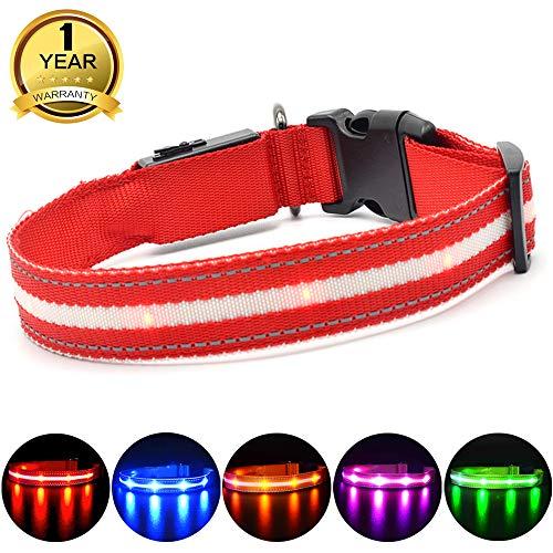 MASBRILL Cuello de Seguridad LED súper Brillante DC Recargable para Perros -...