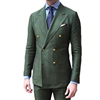 Leader of the Beauty Double Breasted Green Men Suits Terno Slim Fit 2 Pieces Party Tuxedo for Men