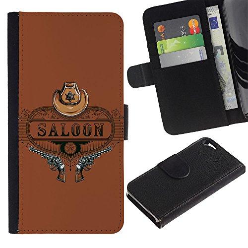 Preisvergleich Produktbild Leder Brieftasche Hülle Kartenhalter Schutz Etui für Apple Iphone 5 / 5S / Western Saloon Guns / STRONG