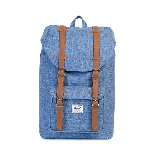 Herschel Supply Co. Sac à dos Little America volume moyen, Limoges Crosshatch/Tan Synthetic Leather (bleu) - 10020-00918-OS