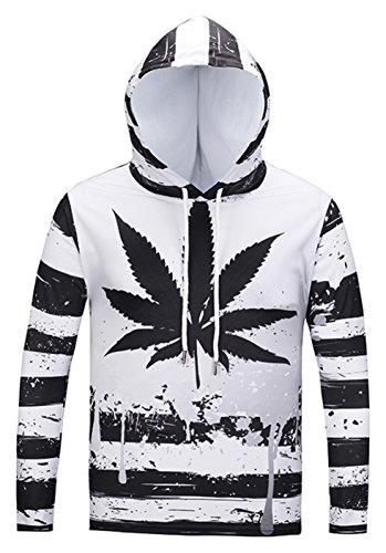 Pizoff Unisex Hip Hop cosplay Sweatshirt Maskerade Kapuzenpullover mit Bunt 3D Cannabisblätter Marihuana Digital (Kostüm Mann Elf)