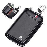 ZHIJING Schlüsseltasche Auto Schlüsseletui Leder 5 Fächer 6 Schlüsselhaken NFC Schutz...