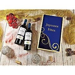 """Coffret Cadeau Vins Noël""""Lignes"""" + 2 bouteilles de Bordeaux supérieur Léonie château Cabant"""