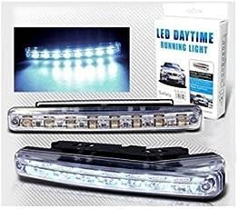 Autofier White 8 LED Daytime Super Running Lights Pair (2 Strips) for Hyundai Grand I10