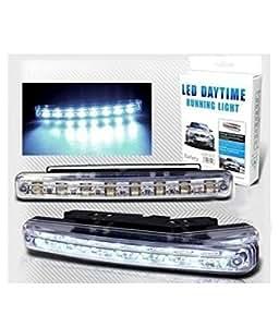 Autofier White 8 LED Daytime Super Running Lights Pair (2 Strips) For Maruti Suzuki Ritz