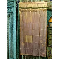 Mogul Interior India Curtains Yellow Gold Silk Sari Curtain Window Dressing Drape 1 Panel