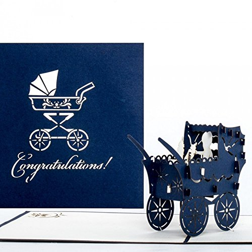 3D Birth Card Baby Boy - Pop Up Greeting & Congratulations Cards for the first birthday - as little gift, voucher & packaging - Pop Up Geburtskarte in Englisch - English New Baby Born surprise Card