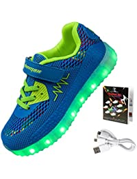 Shinmax LED Kid Shoes LED Sneakers Sport Shoes Spring-Summer-Autumn Breathable 7 Colors LED Shoes USB Rechargable...