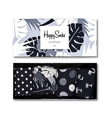 Happy Socks Damen Freizeitsocken Black & White Gift Box, 4er Pack, Schwarz (Schwarz 9002), One Size (Herstellergröße: 36-40) (Schwarze Damen-box)
