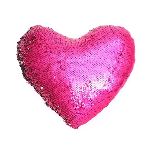VORCOOL Lentejuelas en Forma de corazón Funda de Almohada Decorativa Throw Home Funda de Almohada Funda...